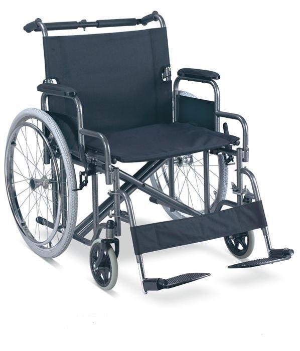 Manual Steel Wheelchair Heavy duty Fat Wheelchair Foldable push bar SC-SW27-61