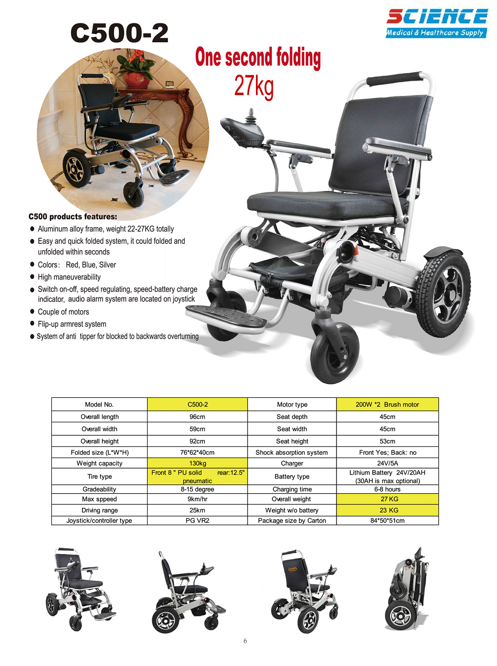 Power Wheelchair Electric Wheelchair Easy Carrying SC-C500