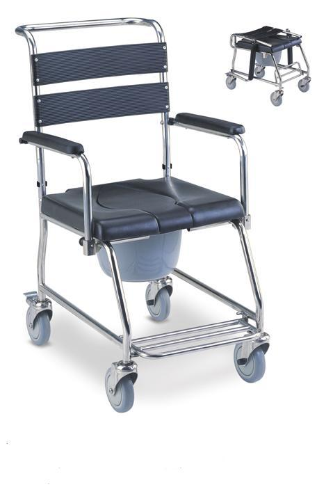 Stainless Steel Commode Wheelchair Fold Down SC-CW06(SS)