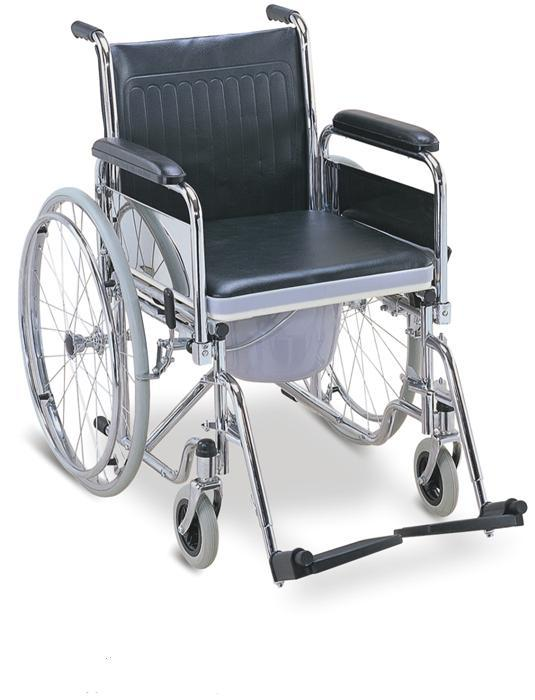 Commode Wheelchair Chromed Steel Big Wheels SC-CW09(S)