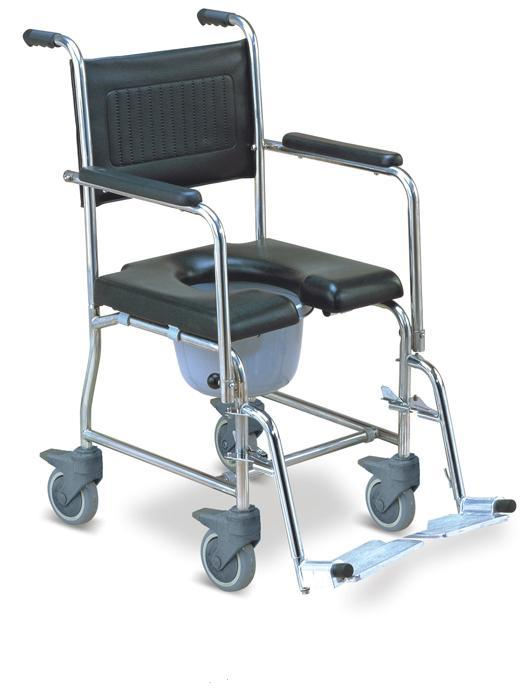 Commode Wheelchair Stainless Steel Flip Down Armrest SC-CW05(SS)