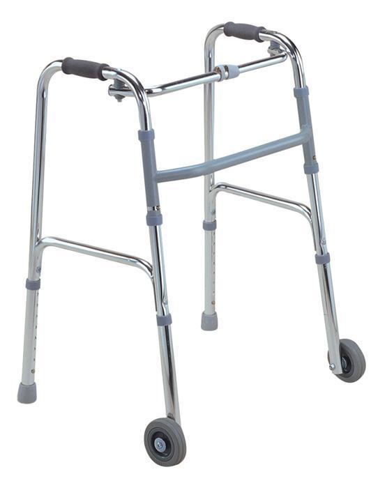 Aluminum folding walker with wheels