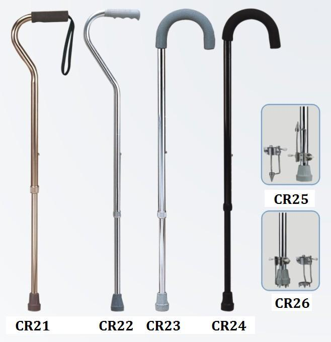 Aluminum walking stick adjustable single color