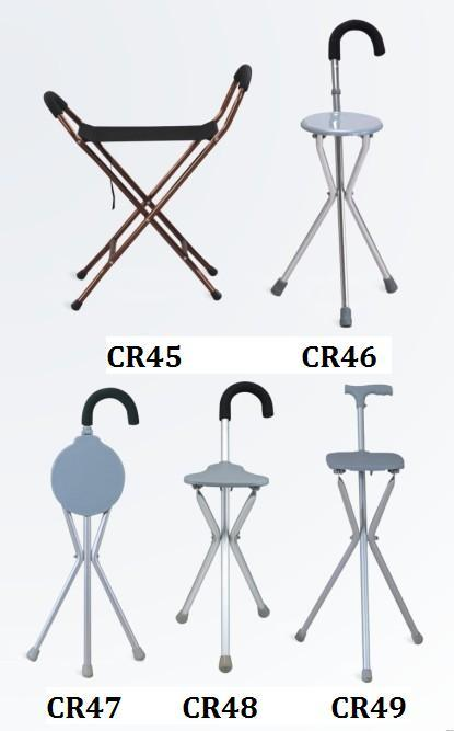 Aluminum  walking stick crutch with seat