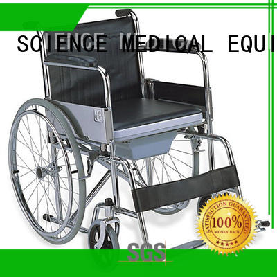 SCIENCE MEDICAL on-sale folding commode chair with wheels ODM for disabled
