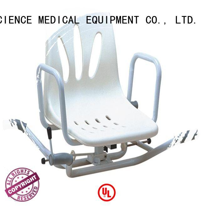 SCIENCE MEDICAL swivel adjustable shower chair free sample for shower assistant